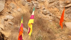 Flags at hill area Stock Footage