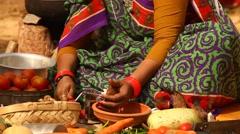 Women Making of Vegetation food Stock Footage