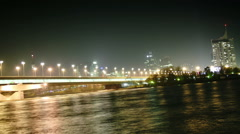 TIME LAPSE Donau City and Reichsbrücke Vienna at night – Zoom - stock footage