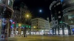 TIME LAPSE Historical inner city in the light of a full moon – Zoom Stock Footage
