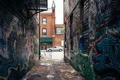 Graffiti alley and howard street in baltimore, maryland. Stock Photos
