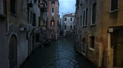 Venice Italy after dark canal gondola HD 4139 Stock Footage