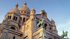 Sacred Heart Sacre Coeur Church Montmartre Paris France 4K Stock Video Footage Stock Footage