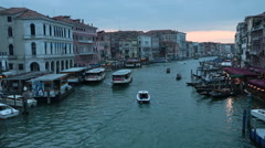 Venice Italy Grand Canal Rialto sunset boat traffic HD 4130 Stock Footage