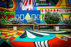 Benches and colorful mural in north charles, baltimore, maryland. Stock Photos