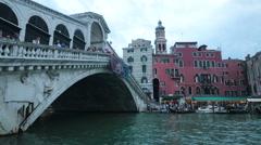 Venice Italy Rialto Bridge vaporetto day HD 4125 Stock Footage