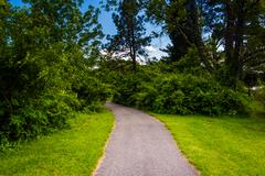 path at cylburn arboretum in baltimore, maryland. - stock photo