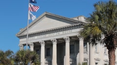 Front of united states custom house Stock Footage