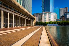 Stock Photo of skyscrapers and reflecting pool seen at christian science plaza in boston, ma