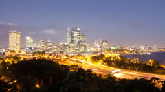 Perth City Dusk Lights Time Lapse 2014 Stock Footage