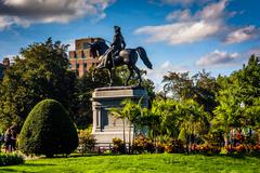 Stock Photo of statue of george washington at the commons in boston, massachusetts.