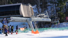 Quad Ski Resort Chairlift Stock Footage
