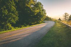 The blue ridge parkway at sunrise, in north carolina. Stock Photos