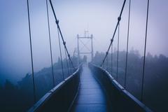 the mile-high swinging bridge in fog, at grandfather mountain, north carolina - stock photo