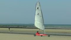 Beach sail buggy on Utah Beach, Manche, France. - stock footage
