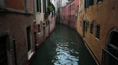 Venice Italy narrow residential canal colorful homes HD 4120 Stock Footage