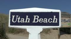 Utah Beach sign on Utah Beach, Manche, France. Stock Footage