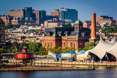 Stock Photo of view of the seven foot knoll lighthouse from federal hill in baltimore, maryl