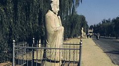 China 1987: camel statue at the entrance of Ming Tomb Stock Footage
