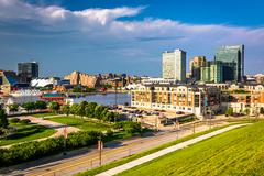 Stock Photo of view toward harbor east from federal hill in baltimore, maryland.