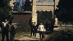 China 1987: visitors at the entrance of Ming Tomb Stock Footage