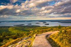Stock Photo of walkway and view from caddilac mountain in acadia national park, maine.