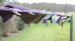 Drying laundry outside - stock footage