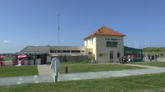 Cafe & Musee (incorporating a bunker) behind Utah Beach, Manche, France. Stock Footage