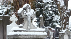Snowy Tombstone Stock Footage