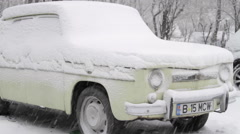 Vintage Car Covered In Snow, Blizzard, Winter, Bad Weather, Parking Lot Stock Footage