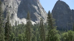 Ultra HD 4K Yosemite National Park USA with Mountain and Trees Stock Footage