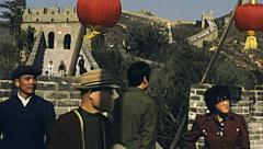 China 1987: visitors in the Great wall of China Stock Footage
