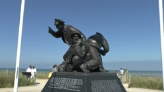 The US Navy Monument on Utah Beach, Manche, France. Stock Footage