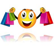 Stock Illustration of smiley went shopping