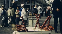 China 1987: food stand in the city Stock Footage