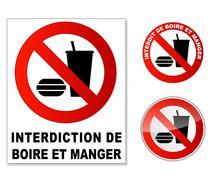 Plaque interdit manger et boire Stock Illustration