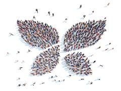 People in the form of an abstract symbol. - stock illustration