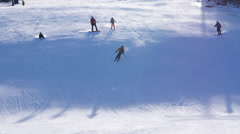 Downhill Skiing On A Sunny Day Stock Footage