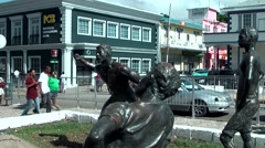 Jamaica Montego Bay Caribbean Sea 011 statues of athletics on a public square Stock Footage