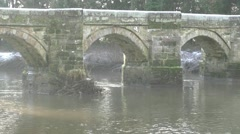 Packhorse Bridge built in 1550 at Great Hayward Stock Footage