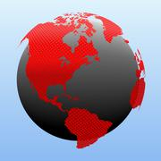 Red globe world map. Derived from NASA image. Stock Illustration