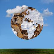 Stone globe with world map shaped clouds. Derived from NASA image. Stock Illustration