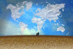 Surreal landscape with clouds in shape of world map Stock Illustration