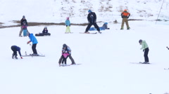 Children Learn To Downhill Ski Stock Footage