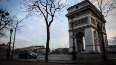 Arc De Triomphe, Paris, France. Busy Traffic Timelapse HD Stock Footage