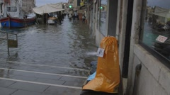 Flooded canal and street, venice, italy Stock Footage