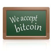 we accept bitcoin black board - stock illustration