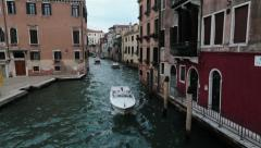 Venice Italy luxury water taxi narrow canal HD 4091 Stock Footage