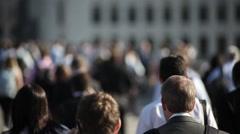 Hi-mo large crowd of pedestrians walk over London Bridge 03 - stock footage