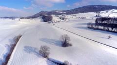 4K rising aerial shot - winter panorama Stock Footage